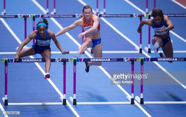 Kendra Harrison of the USA Nadine Visser of the Netherlands Sharika Nelvis of the USA during the Women's 60m Hurdles Final on Day 3 of the IAAF World...