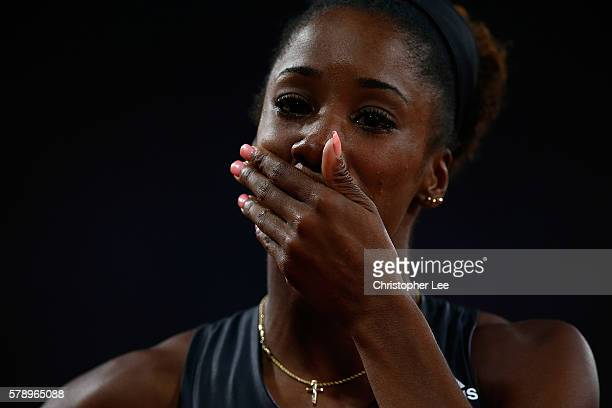 Kendra Harrison of The USA reacts after setting a new world record in the womens 100m hurdles on Day One of the Muller Anniversary Games at The...