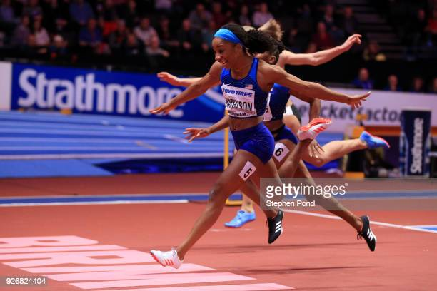 Kendra Harrison of United States wins the 60 Meters Hurdles Final Womens during the IAAF World Indoor Championships on Day Three at Arena Birmingham...