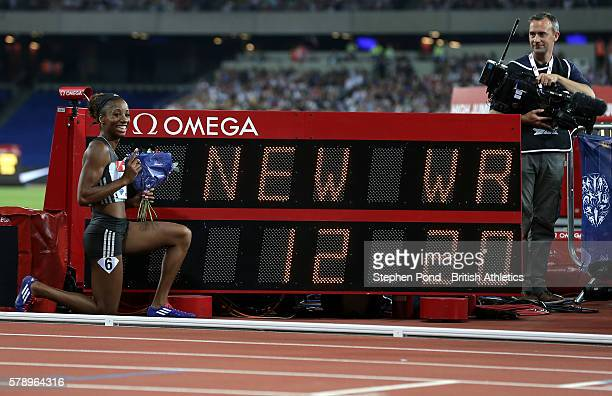 Kendra Harrison of USA celebrates winning the womens' 100m hurdles with a new world record time during day one of the Muller Anniversary Games at The...
