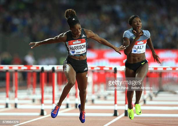 Kendra Harrison of USA wins the womens' 100m hurdles with a new world record time during day one of the Muller Anniversary Games at The Stadium Queen...