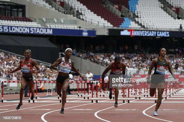 US Kendra Harrison wins ahead of US Brianna McNeal in the Women's 100m hurdles event during the the IAAF Diamond League Anniversary Games athletics...