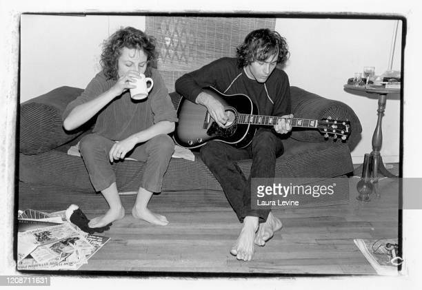 Kendra Smith and David Roback of the Los Angeles based rock group Opal drink coffee in photographer Laura Levine's Chinatown apartment in 1983 in New...