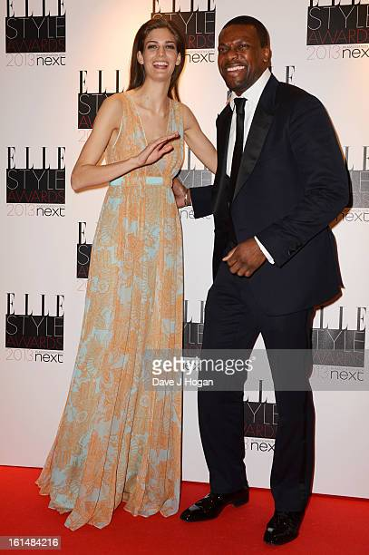 Kendra Spears and Chris Tucker pose in the press room at The Elle Style Awards 2013 at The Savoy Hotel on February 11 2013 in London England