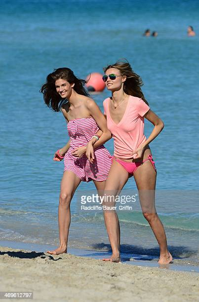 Kendra Spears and Magdalena Frackowiak are seen on February 15 2014 in Miami Florida