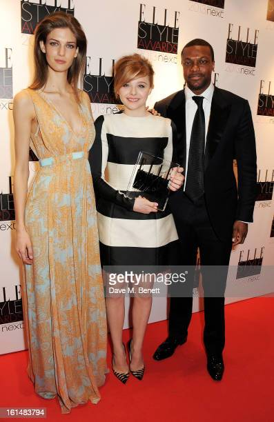 Kendra Spears Next Future Icon winner Chloe Moretz and Chris Tucker pose in the press room at the Elle Style Awards at The Savoy Hotel on February 11...