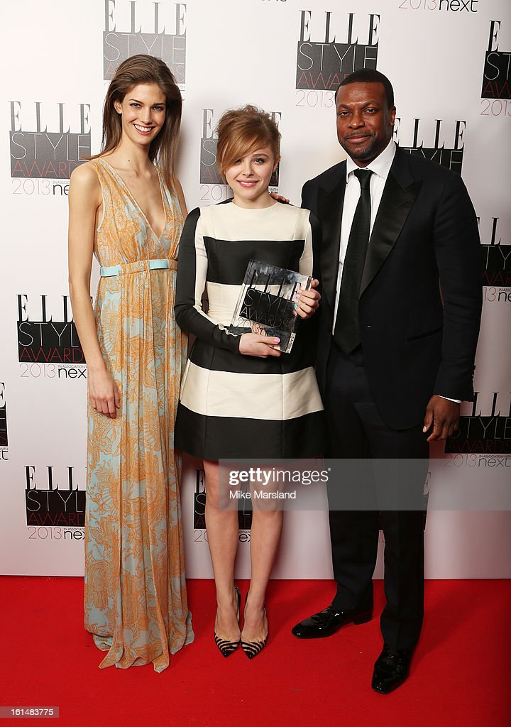 Kendra Spears, Next Future Icon winner Chloe Moretz and presenter Chris Tucker pose in the press room at the Elle Style Awards at The Savoy Hotel on February 11, 2013 in London, England.