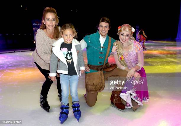Kendra Wilkinson Alijah Mary Baskett Flynn Rider and Rapunzel attend Disney On Ice Presents Dare to Dream Celebrity Skating Party at Staples Center...