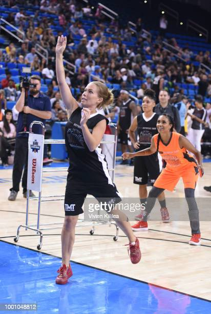 Kendra Wilkinson and Brittney Elena play basketball at Monster Energy Outbreak Presents $50K Charity Challenge Celebrity Basketball Game at UCLA's...