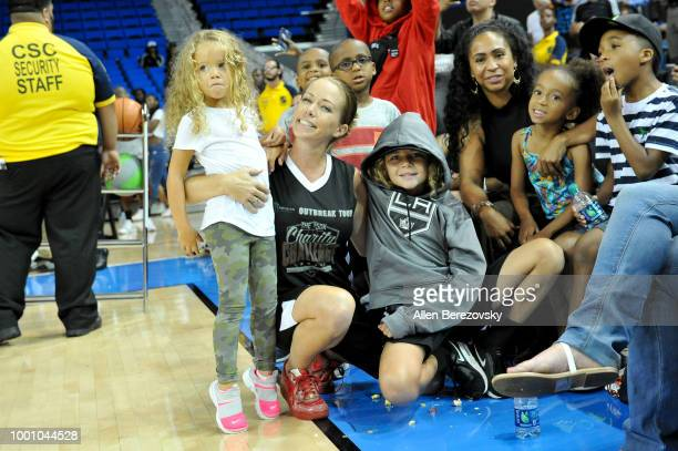Kendra Wilkinson and her sons Hank Baskett IV and Alijah Mary Baskett attend Monster Energy Outbreak $50K Charity Challenge celebrity basketball game...