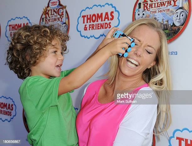 """Kendra Wilkinson and son Hank attend the """"Thomas & Friends: King of the Railway"""" blue carpet premiere at The Grove on September 15, 2013 in Los..."""