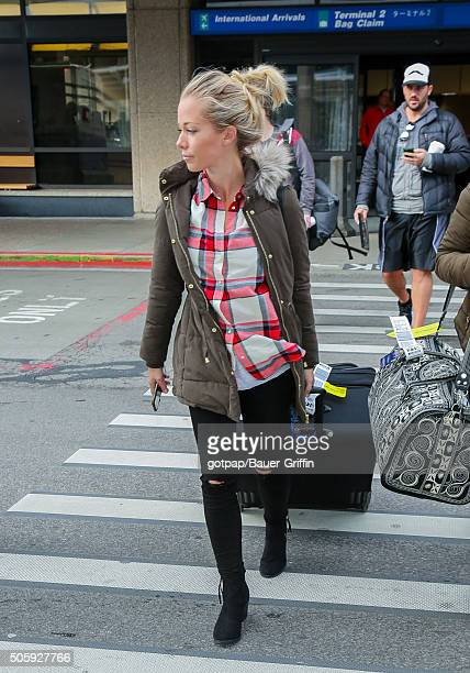 Kendra Wilkinson arrives at the Salt Lake City International Airport on January 20 2016 in Salt Lake City Utah