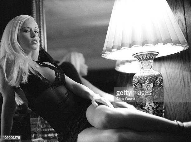 Kendra Wilkinson during Portrait Shoot with Hugh Hefner's Girlfriends Black White Photography by Chris Weeks at Playboy Mansion in Holmby Hills...