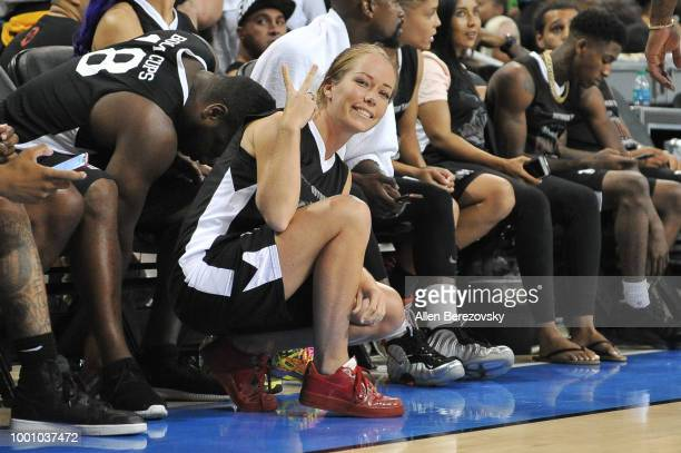 Kendra Wilkinson participates in Monster Energy Outbreak $50K Charity Challenge celebrity basketball game at UCLA on July 17 2018 in Los Angeles...