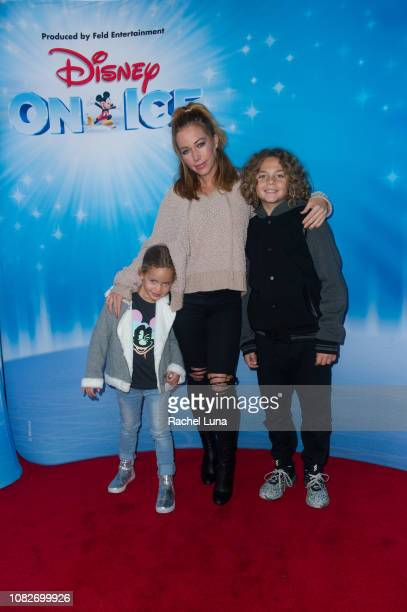 Kendra Wilkinson with son Hank and daughter Alijah attend Disney On Ice Presents 'Dare To Dream' at Staples Center on December 14 2018 in Los Angeles...