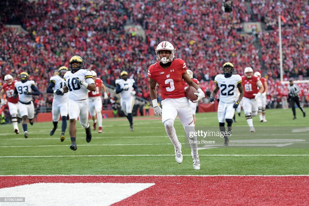 Kendric Pryor #3 of the Wisconsin Badgers rushes for a touchdown during the third quarter of a game against the Michigan Wolverines at Camp Randall Stadium on November 18, 2017 in Madison, Wisconsin.