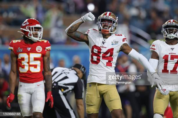 Kendrick Bourne of the San Francisco 49ers and Emmanuel Sanders of the San Francisco 49ers react during the third quarter against the Kansas City...