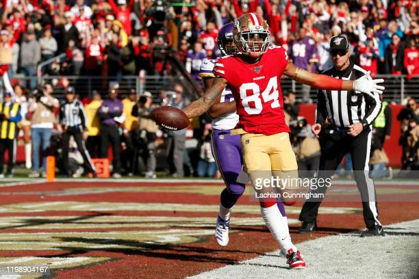 Kendrick Bourne of the San Francisco 49ers celebrates a touchdown during the first quarter against the Minnesota Vikings during the NFC Divisional...