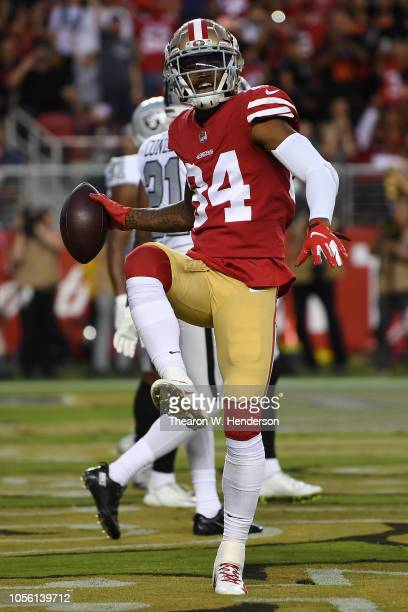 Kendrick Bourne of the San Francisco 49ers celebrates after a four-yard touchdown against the Oakland Raiders during their NFL game at Levi's Stadium...