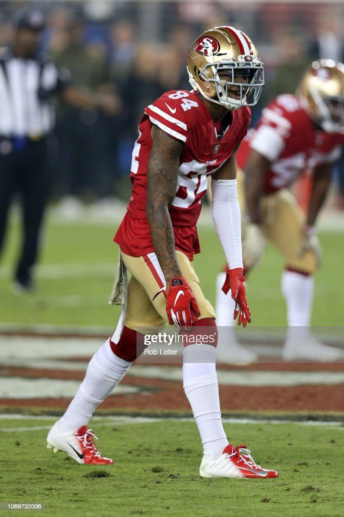 innovative design c7be4 85ac6 Kendrick Bourne of the San Francisco 49ers in action during ...