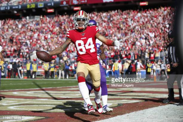 Kendrick Bourne of the San Francisco 49ers makes a 3-yard touchdown reception during the game against the Minnesota Vikings at Levi's Stadium on...