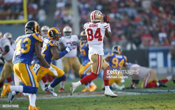 Kendrick Bourne of the San Francisco 49ers makes a reception during the game against the Los Angeles Rams at Los Angeles Memorial Coliseum on...