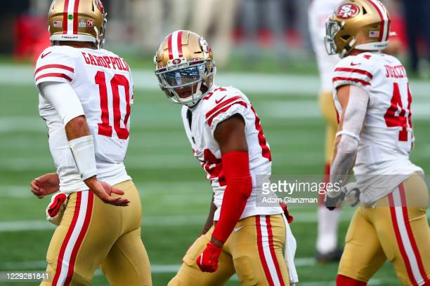 Kendrick Bourne of the San Francisco 49ers reacts after a touchdown during a game against the New England Patriots on October 25, 2020 in Foxborough,...