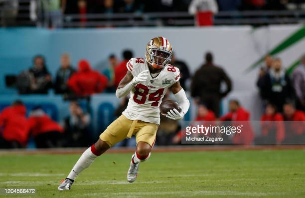 Kendrick Bourne of the San Francisco 49ers runs after making a reception against the Kansas City Chiefs in Super Bowl LIV at Hard Rock Stadium on...