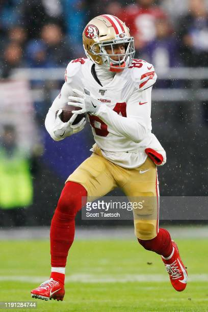 Kendrick Bourne of the San Francisco 49ers runs with the ball during the first half against the Baltimore Ravens at M&T Bank Stadium on December 01,...