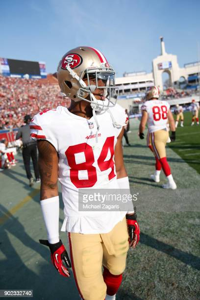 Kendrick Bourne of the San Francisco 49ers stands on the sideline during the game against the Los Angeles Rams at Los Angeles Memorial Coliseum on...