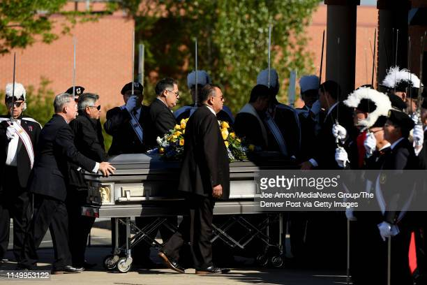 Kendrick Castillo who was killed during the STEM School Highlands Ranch shooting is escorted into St. Mary Catholic Church in front of the Knights of...