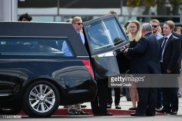 Kendrick Castillo's casket is loaded into a hearse after a celebration of life ceremony at Cherry Hills Community Church on May 15 2019 in Highlands...