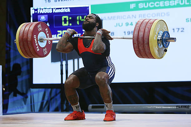 Kendrick Farris competes in the Men's 94kg clean and jerk weight class and sets the new USA National Record at the USA Olympic Team Trials for...