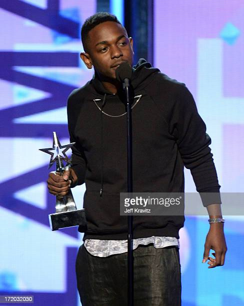 Kendrick Lamar accepts the award for Best New Artist onstage during the 2013 BET Awards at Nokia Theatre LA Live on June 30 2013 in Los Angeles...