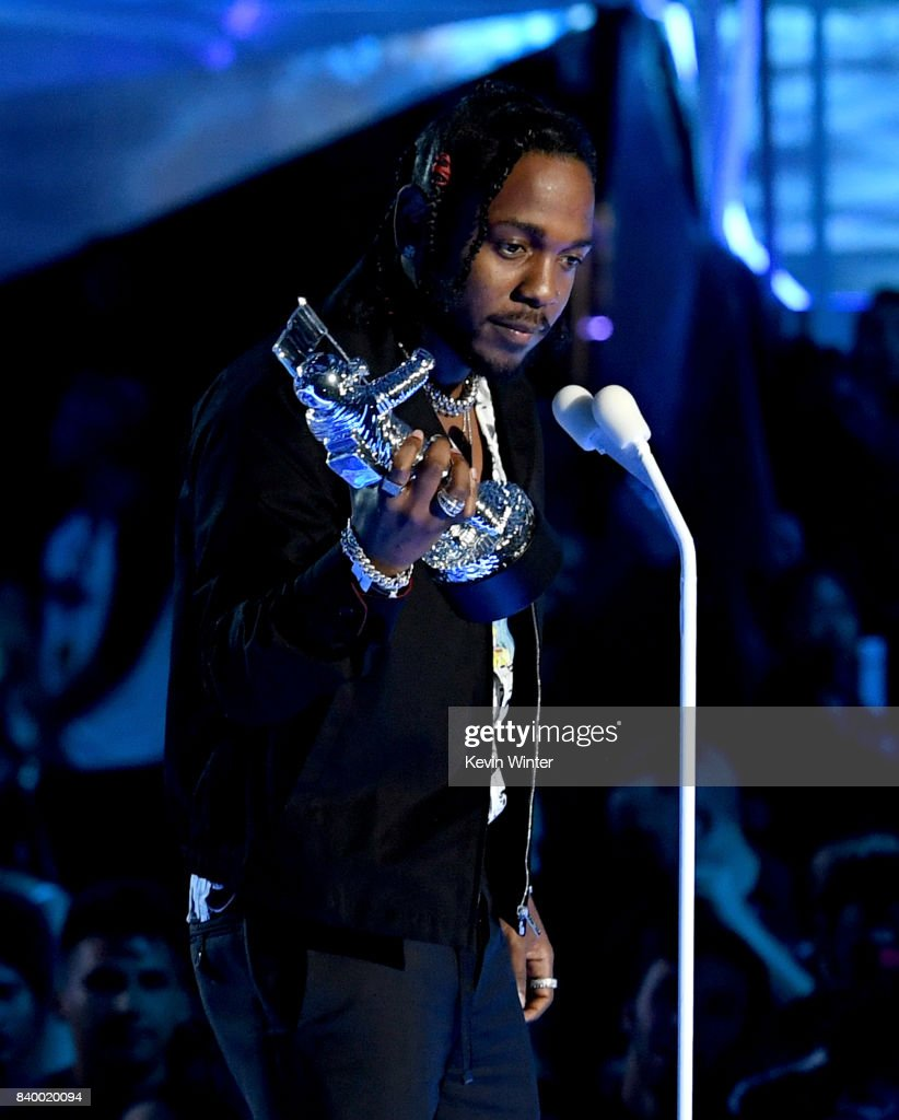 Kendrick Lamar accepts the Video of the Year award for 'Humble' onstage during the 2017 MTV Video Music Awards at The Forum on August 27, 2017 in Inglewood, California.