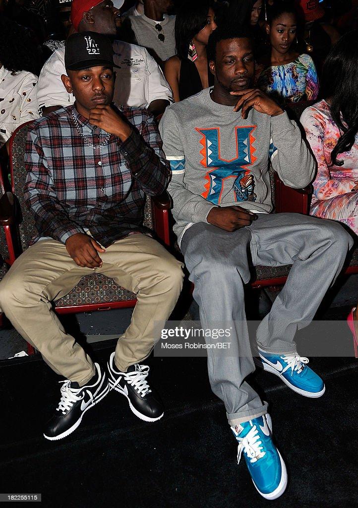 Kendrick Lamar (L) and Jay Rock attend the BET Hip Hop Awards 2013 at Boisfeuillet Jones Atlanta Civic Center on September 28, 2013 in Atlanta, Georgia.