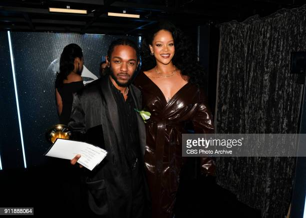 Kendrick Lamar and Rihanna backstage at THE 60TH ANNUAL GRAMMY AWARDS broadcast live on both coasts from New York City's Madison Square Garden on...