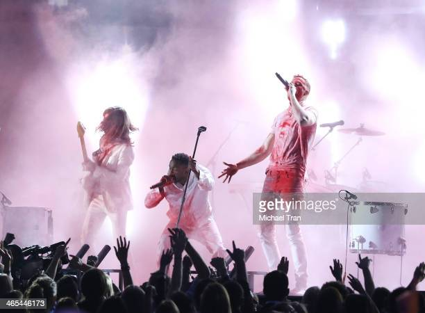 Kendrick Lamar and singer Dan Reynolds of Imagine Dragons perform onstage during the 56th GRAMMY Awards held at Staples Center on January 26 2014 in...