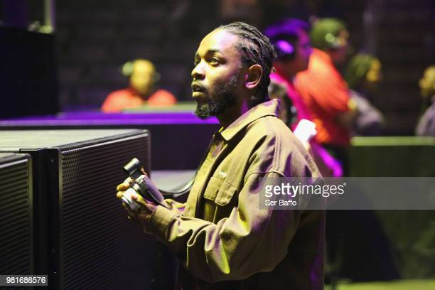 Kendrick Lamar attends the 2018 BET Experience Staples Center Concert sponsored by COCACOLA at LA Live on June 22 2018 in Los Angeles California