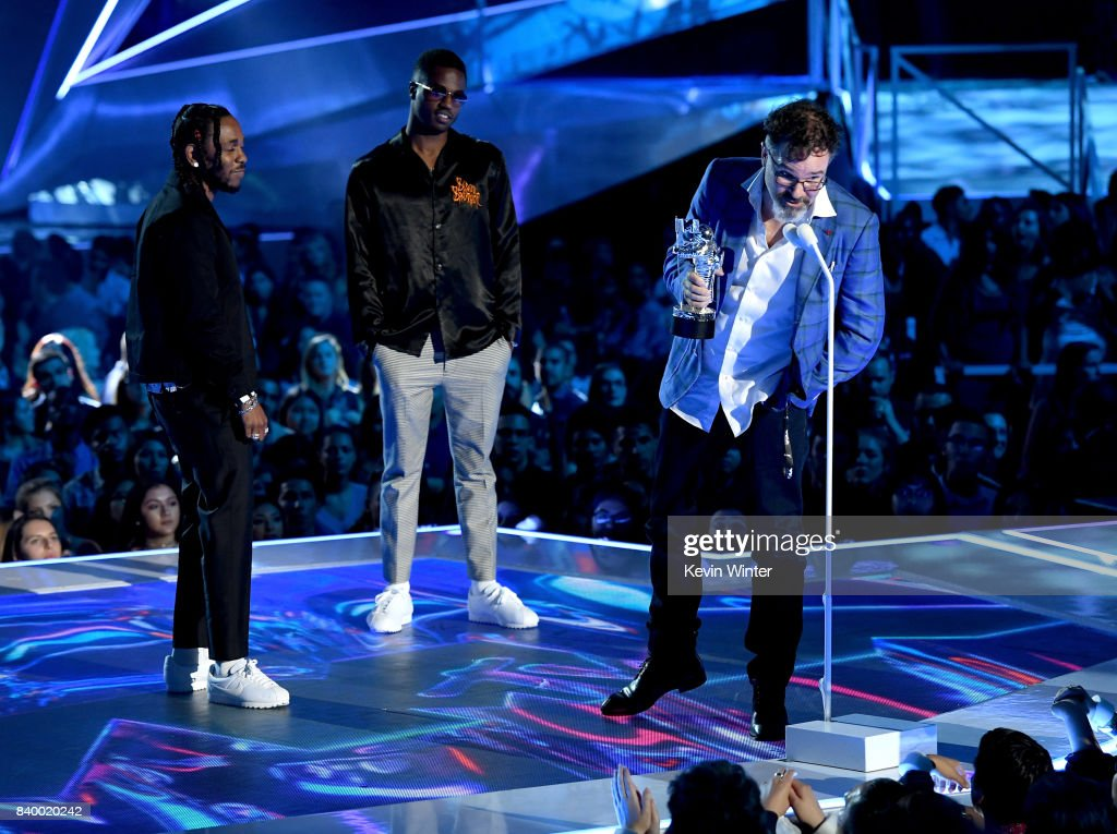 Kendrick Lamar, Dave Free and Dave Meyers accept the Video of the Year award for 'Humble' onstage during the 2017 MTV Video Music Awards at The Forum on August 27, 2017 in Inglewood, California.