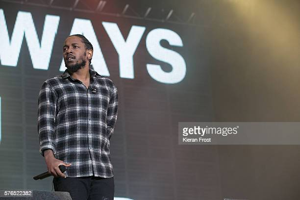 Kendrick Lamar performs at Longitude Festival at Marlay Park on July 15 2016 in Dublin Ireland