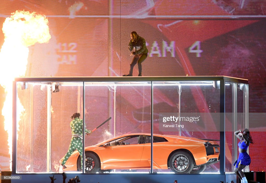 Kendrick Lamar performs at the BRIT Awards 2018 held at The O2 Arena on February 21, 2018 in London, England.
