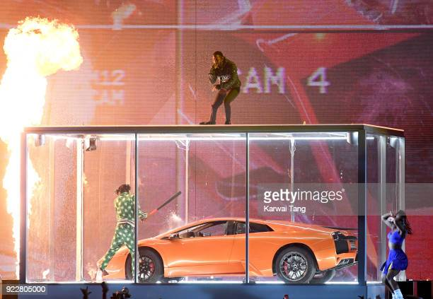 AWARDS 2018 *** Kendrick Lamar performs at the BRIT Awards 2018 held at The O2 Arena on February 21 2018 in London England