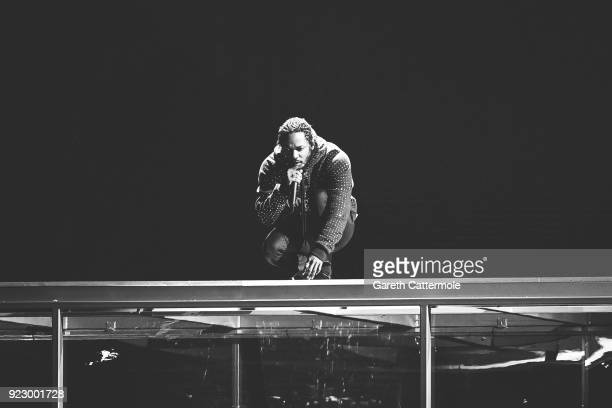 Kendrick Lamar performs at The BRIT Awards 2018 held at The O2 Arena on February 21 2018 in London England
