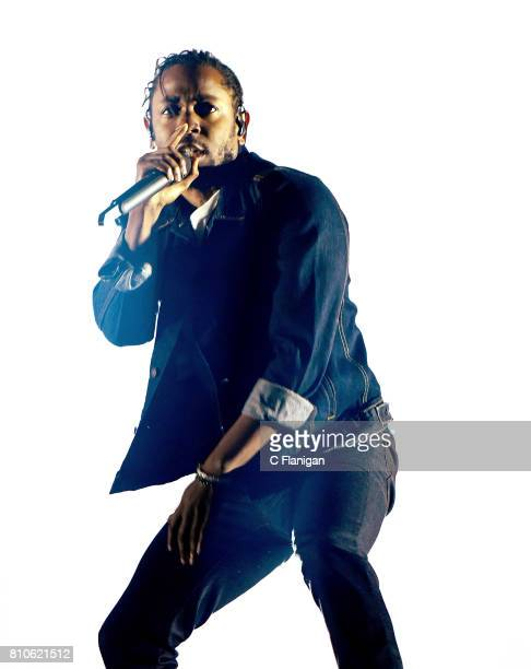 Kendrick Lamar performs during the 2017 Festival d'ete de Quebec on July 7 2017 in Quebec City Canada