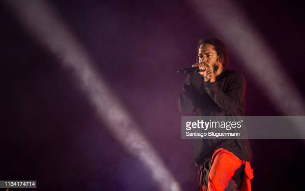 Kendrick Lamar performs during the third day of Lollapalooza Buenos Aires 2019 at Hipodromo de San Isidro on March 31 2019 in Buenos Aires Argentina