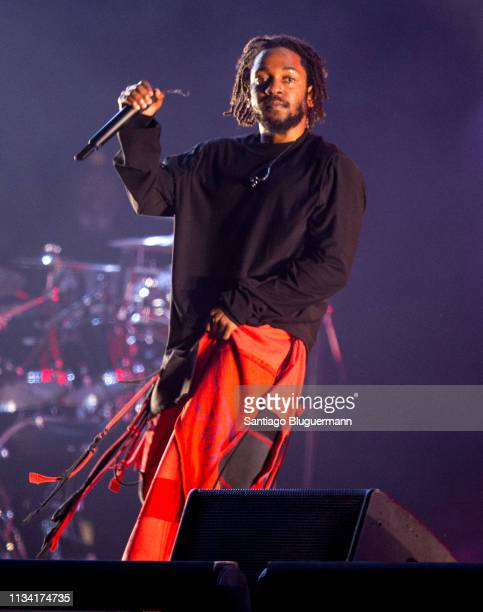Kendrick Lamar performs during the third day of Lollapalooza Buenos Aires 2019 at Hipodromo de San Isidro on March 31, 2019 in Buenos Aires,...