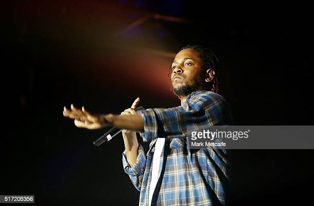 Kendrick Lamar performs live for fans at the 2016 Byron Bay Bluesfest on March 24 2016 in Byron Bay Australia