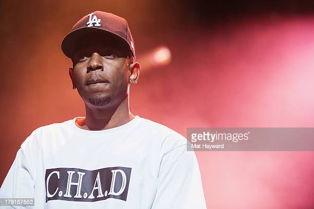 Kendrick Lamar performs on stage during the Bumbershoot Music Festival at Seattle Center on August 31 2013 in Seattle Washington