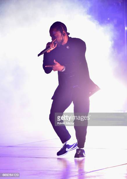 Kendrick Lamar performs on the Coachella Stage during day 3 of the Coachella Valley Music And Arts Festival at the Empire Polo Club on April 16 2017...
